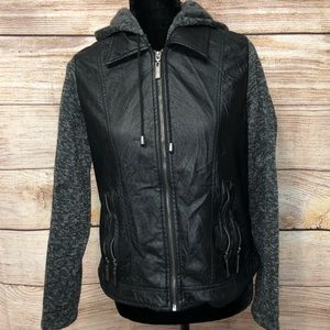 Jou Jou Faux Leather Hooded Jacket